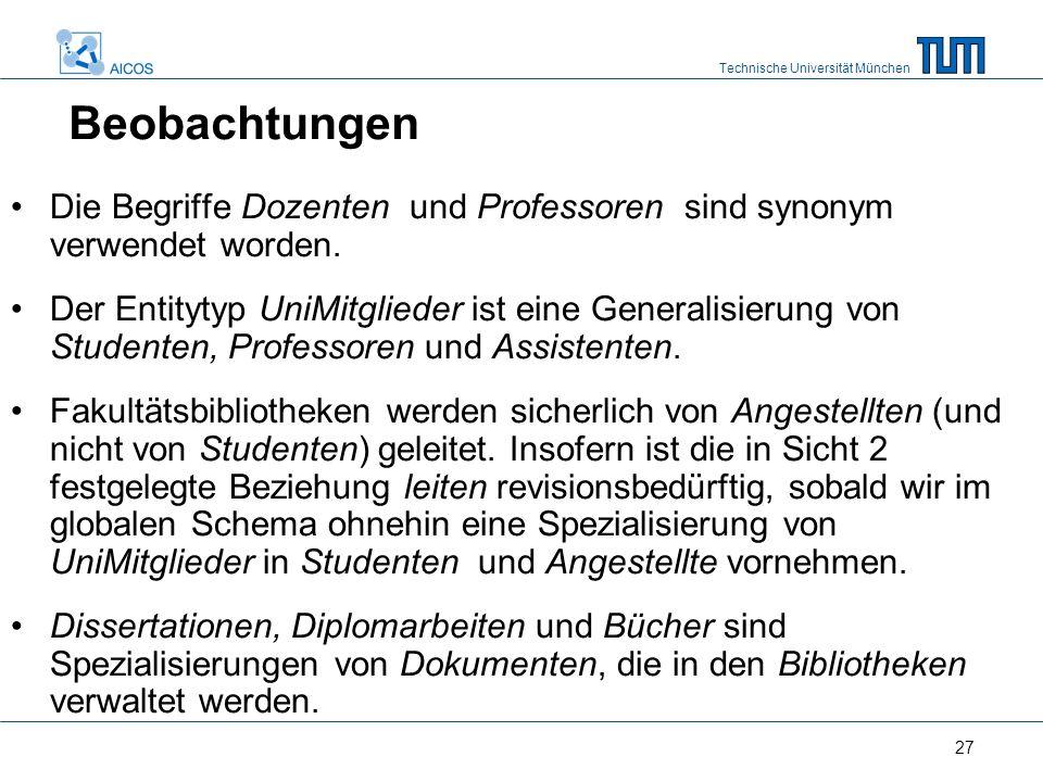 Technische Universität München 27 Beobachtungen Die Begriffe Dozenten und Professoren sind synonym verwendet worden.