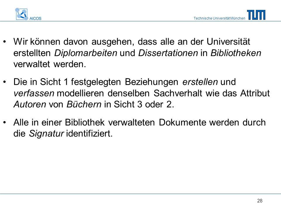 Technische Universität München 28 Wir können davon ausgehen, dass alle an der Universität erstellten Diplomarbeiten und Dissertationen in Bibliotheken verwaltet werden.