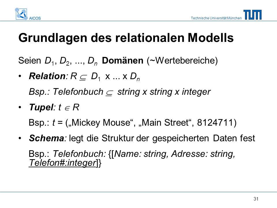Technische Universität München 31 Seien D 1, D 2,..., D n Domänen (~Wertebereiche) Relation: R  D 1 x...