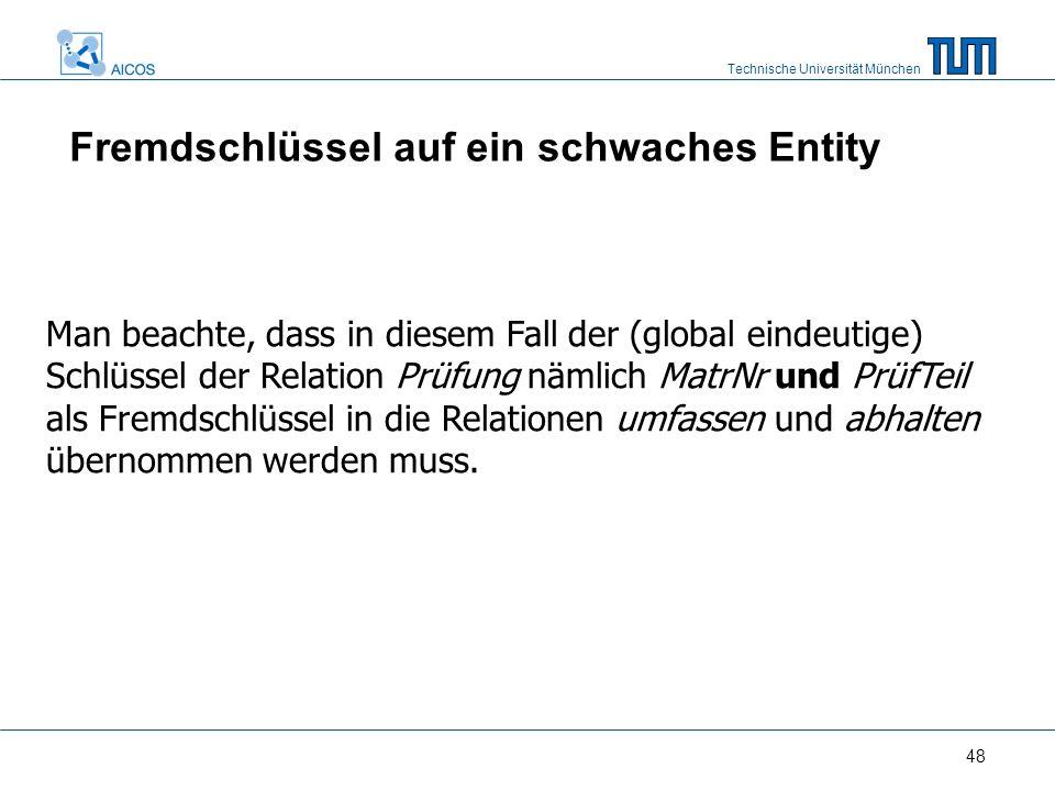 Technische Universität München 48 Man beachte, dass in diesem Fall der (global eindeutige) Schlüssel der Relation Prüfung nämlich MatrNr und PrüfTeil als Fremdschlüssel in die Relationen umfassen und abhalten übernommen werden muss.