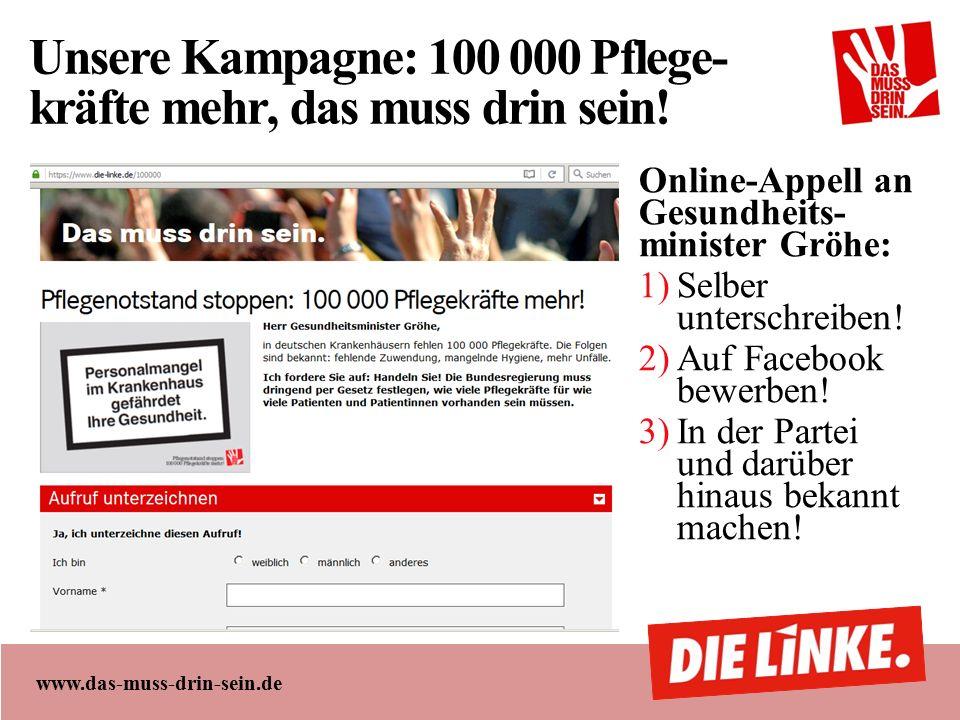www.das-muss-drin-sein.de Unsere Kampagne: 100 000 Pflege- kräfte mehr, das muss drin sein.