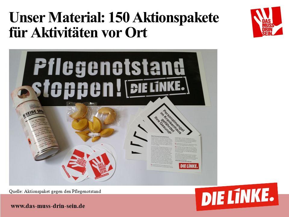 www.das-muss-drin-sein.de Unser Material: 150 Aktionspakete für Aktivitäten vor Ort Quelle: Aktionspaket gegen den Pflegenotstand