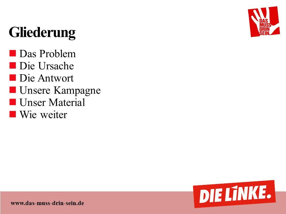 www.das-muss-drin-sein.de Gliederung Das Problem Die Ursache Die Antwort Unsere Kampagne Unser Material Wie weiter