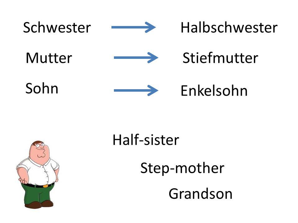 MutterStiefmutter Halbschwester Enkelsohn Sohn Schwester Step-mother Half-sister Grandson