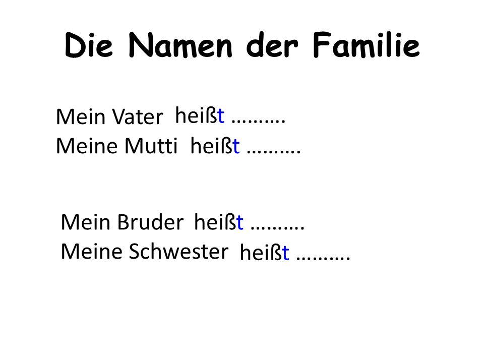 Die Namen der Familie Mein Vater Meine Mutti Mein Bruder Meine Schwester heißt ……….