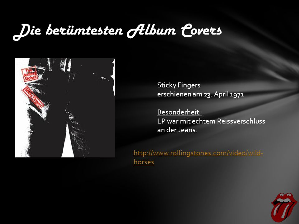 Die berümtesten Album Covers Sticky Fingers erschienen am 23.