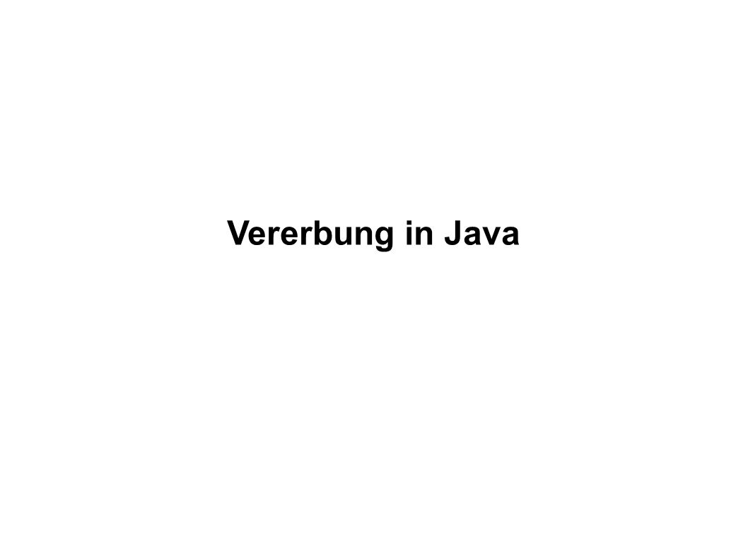 Vererbung in Java