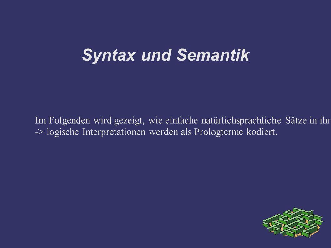 Syntax und Semantik Im Folgenden wird gezeigt, wie einfache natürlichsprachliche Sätze in ihrem logischen Gehalt mithilfe einer angereicherten DCG Notation konstruiert werden können.