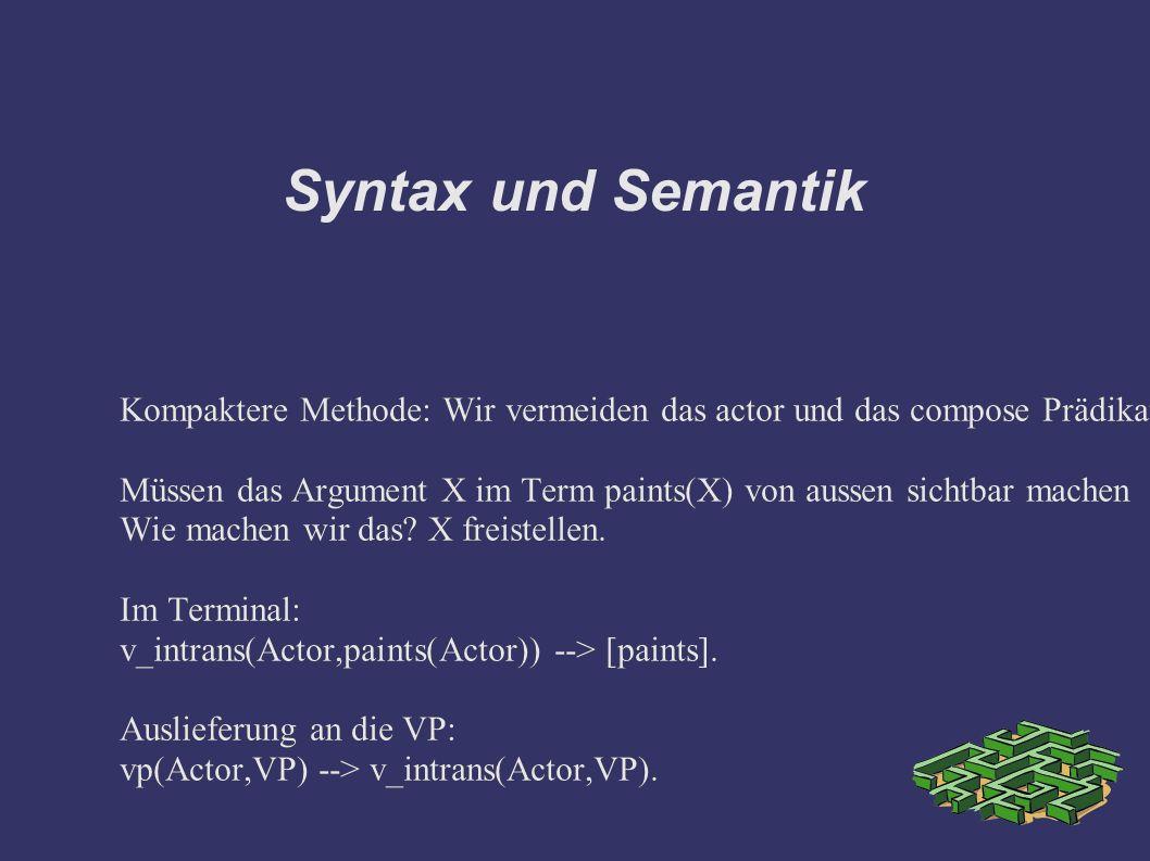 Syntax und Semantik Kompaktere Methode: Wir vermeiden das actor und das compose Prädikat.