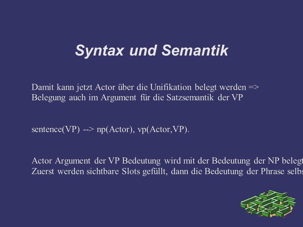 Syntax und Semantik Damit kann jetzt Actor über die Unifikation belegt werden => Belegung auch im Argument für die Satzsemantik der VP sentence(VP) --> np(Actor), vp(Actor,VP).
