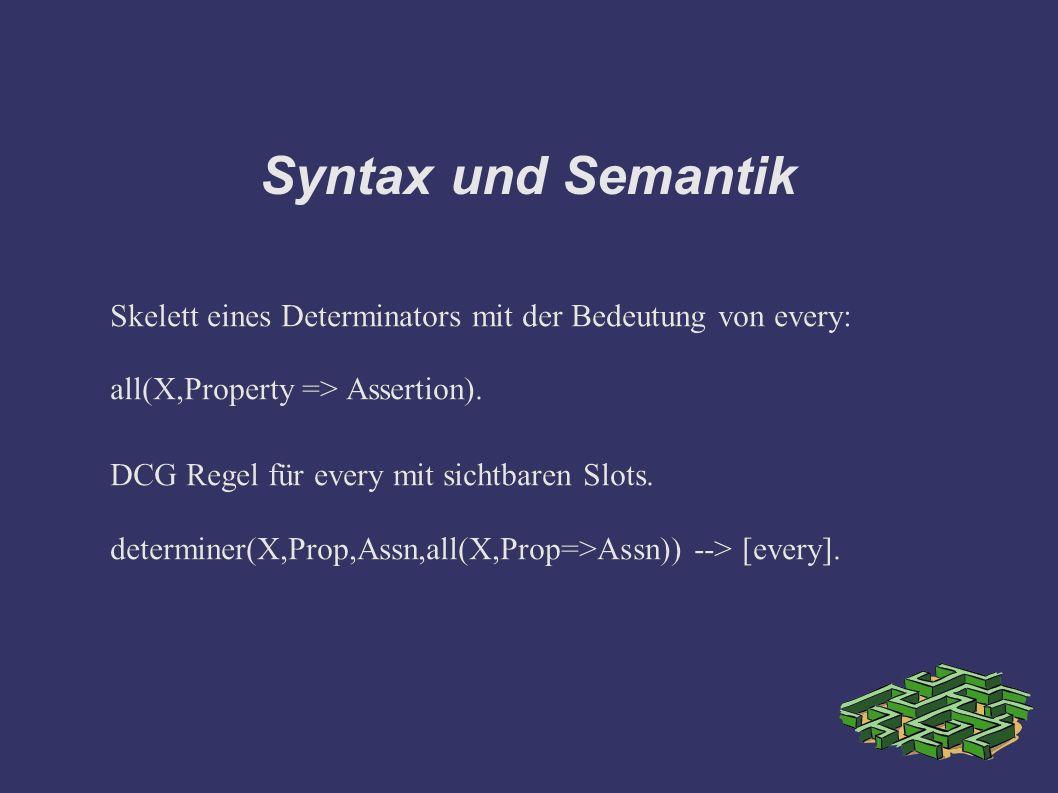 Syntax und Semantik Skelett eines Determinators mit der Bedeutung von every: all(X,Property => Assertion).