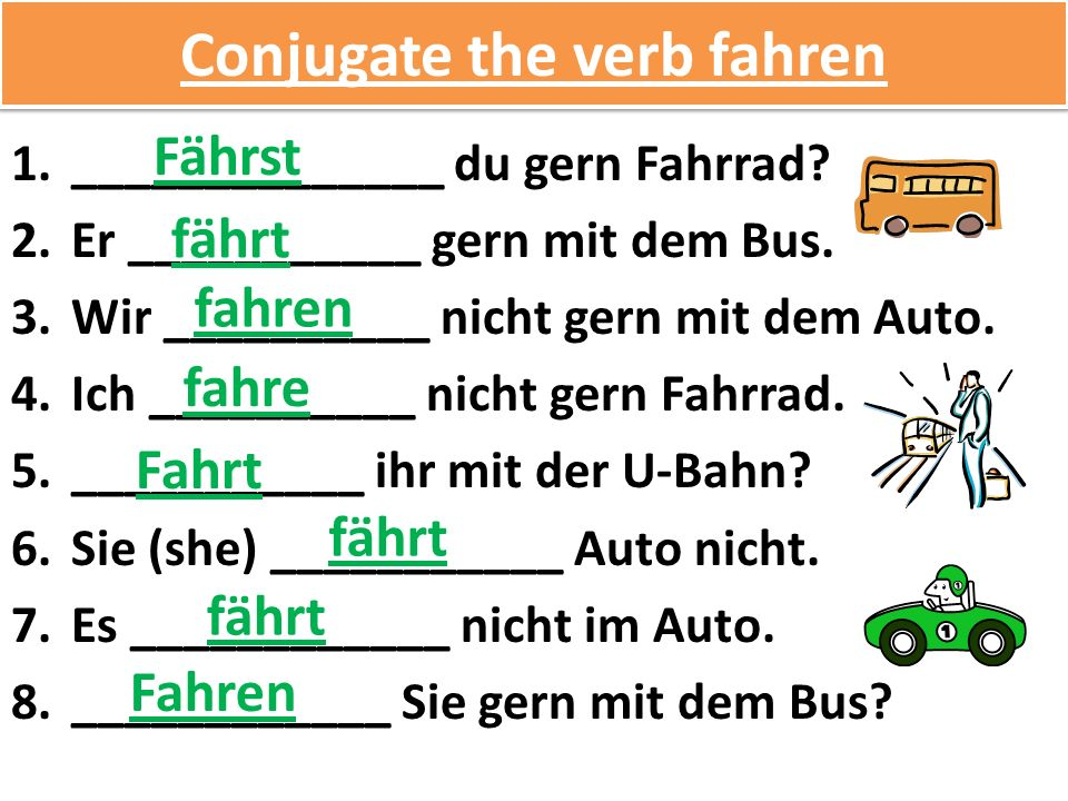 Conjugate the verb fahren 1.______________ du gern Fahrrad.