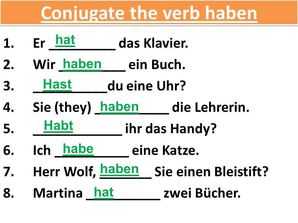 Conjugate the verb haben 1.Er _________ das Klavier.