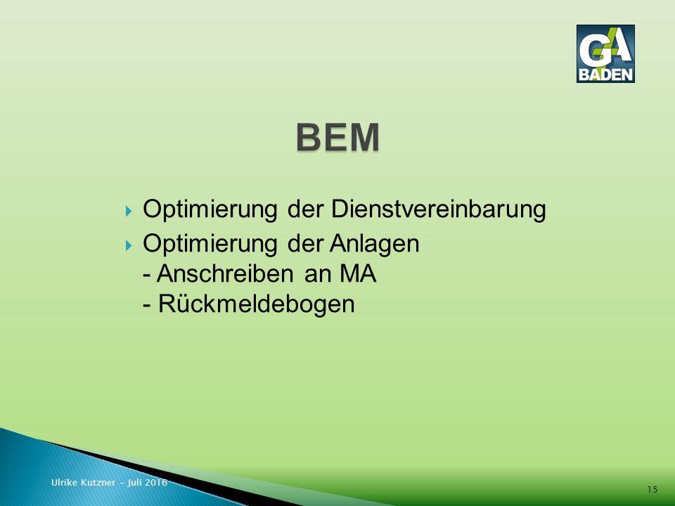  Optimierung der Dienstvereinbarung  Optimierung der Anlagen - Anschreiben an MA - Rückmeldebogen Ulrike Kutzner - Juli 2016 15