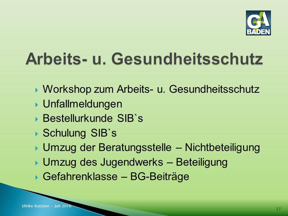  Workshop zum Arbeits- u.