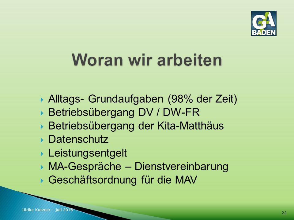  Alltags- Grundaufgaben (98% der Zeit)  Betriebsübergang DV / DW-FR  Betriebsübergang der Kita-Matthäus  Datenschutz  Leistungsentgelt  MA-Gespräche – Dienstvereinbarung  Geschäftsordnung für die MAV Ulrike Kutzner - Juli 2016 22