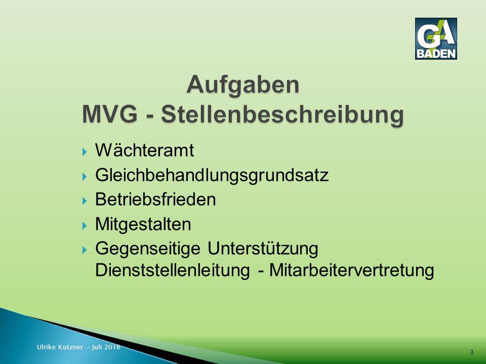  Wächteramt  Gleichbehandlungsgrundsatz  Betriebsfrieden  Mitgestalten  Gegenseitige Unterstützung Dienststellenleitung - Mitarbeitervertretung Ulrike Kutzner - Juli 2016 3