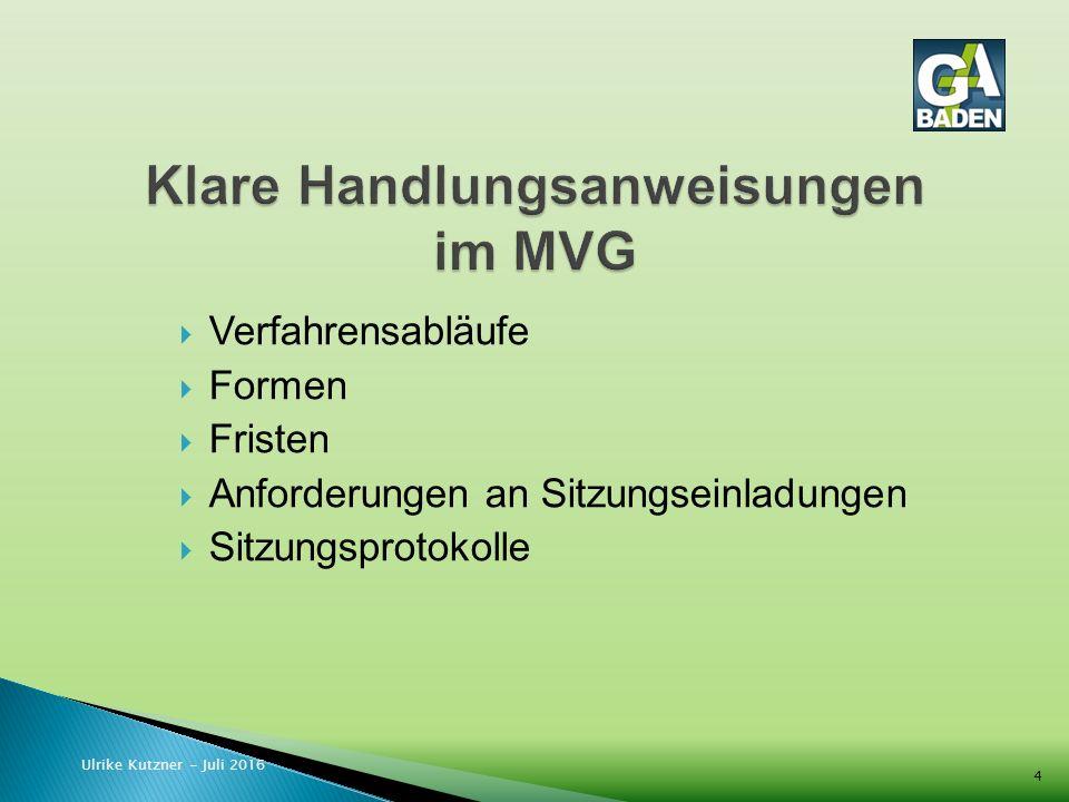  Verfahrensabläufe  Formen  Fristen  Anforderungen an Sitzungseinladungen  Sitzungsprotokolle Ulrike Kutzner - Juli 2016 4