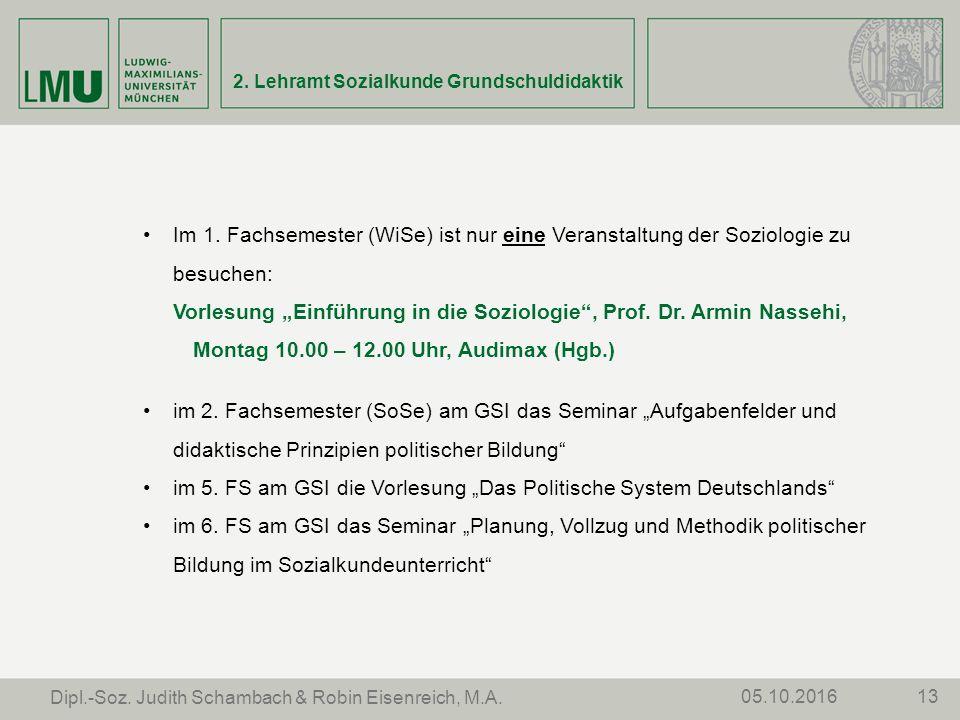 2. Lehramt Sozialkunde Grundschuldidaktik 1305.10.2016 Dipl.-Soz.