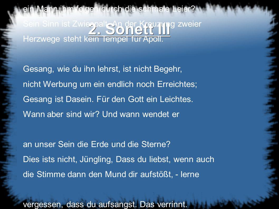 2. Sonett III Ein Gott vermags.