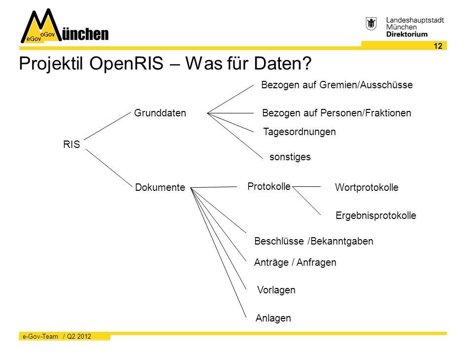 eGov oGov 12 e-Gov-Team / Q2 2012 Projektil OpenRIS – Was für Daten.