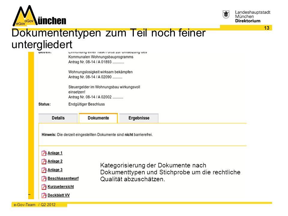 eGov oGov 13 e-Gov-Team / Q2 2012 Dokumententypen zum Teil noch feiner untergliedert Kategorisierung der Dokumente nach Dokumenttypen und Stichprobe um die rechtliche Qualität abzuschätzen.