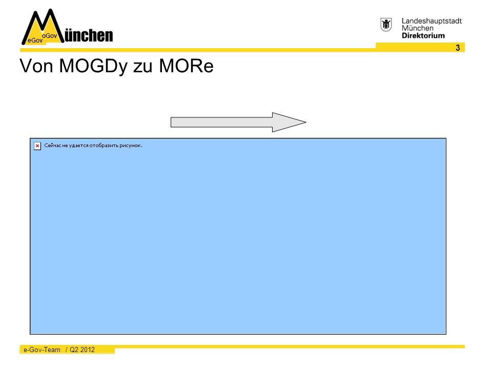 eGov oGov 3 e-Gov-Team / Q2 2012 Von MOGDy zu MORe