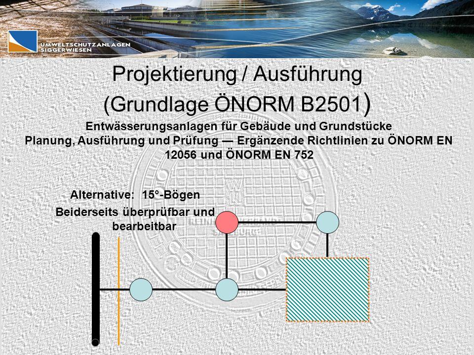 Alternative: 15°-Bögen Beiderseits überprüfbar und bearbeitbar Entwässerungsanlagen für Gebäude und Grundstücke Planung, Ausführung und Prüfung ― Ergänzende Richtlinien zu ÖNORM EN 12056 und ÖNORM EN 752 Projektierung / Ausführung (Grundlage ÖNORM B2501 )