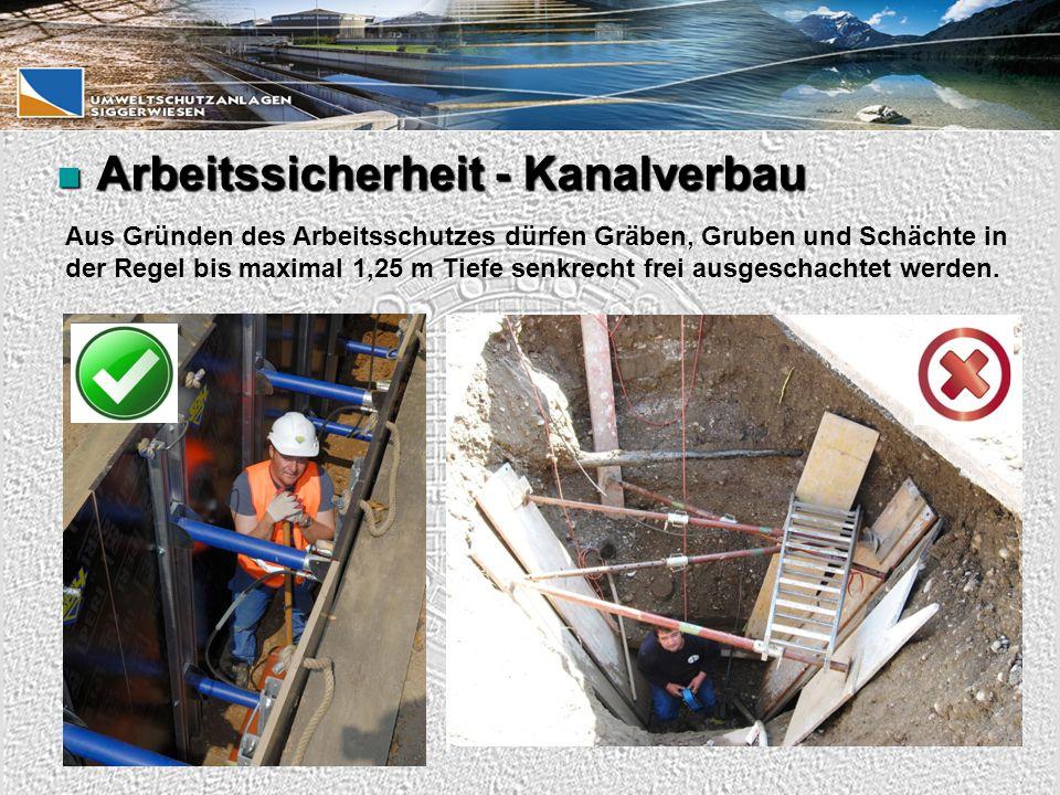 Arbeitssicherheit - Kanalverbau Arbeitssicherheit - Kanalverbau Aus Gründen des Arbeitsschutzes dürfen Gräben, Gruben und Schächte in der Regel bis maximal 1,25 m Tiefe senkrecht frei ausgeschachtet werden.