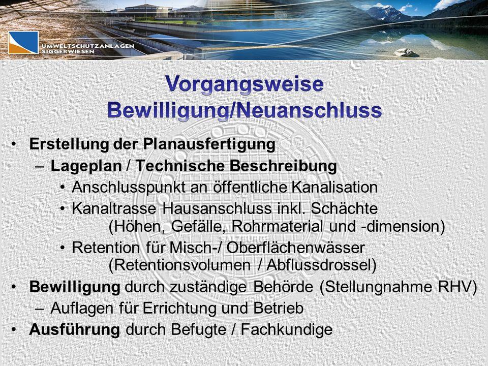 Erstellung der Planausfertigung –Lageplan / Technische Beschreibung Anschlusspunkt an öffentliche Kanalisation Kanaltrasse Hausanschluss inkl.