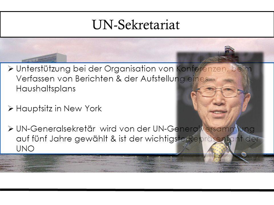 UN-Sekretariat  Unterstützung bei der Organisation von Konferenzen, beim Verfassen von Berichten & der Aufstellung eines Haushaltsplans  Hauptsitz in New York  UN-Generalsekretär wird von der UN-Generalversammlung auf fünf Jahre gewählt & ist der wichtigste Repräsentant der UNO