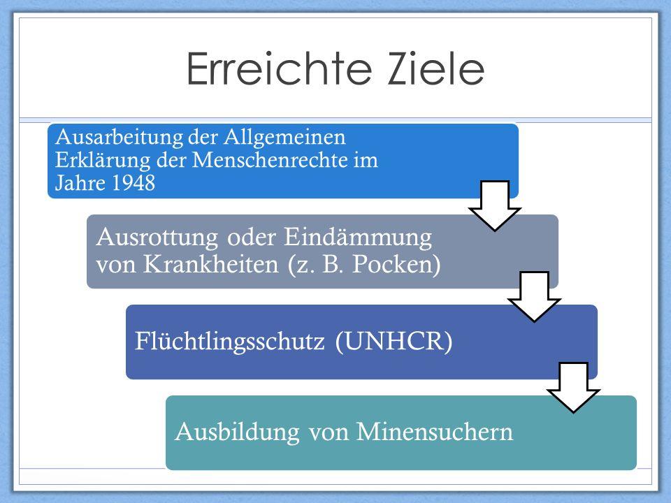 Ausarbeitung der Allgemeinen Erklärung der Menschenrechte im Jahre 1948 Ausrottung oder Eindämmung von Krankheiten (z.