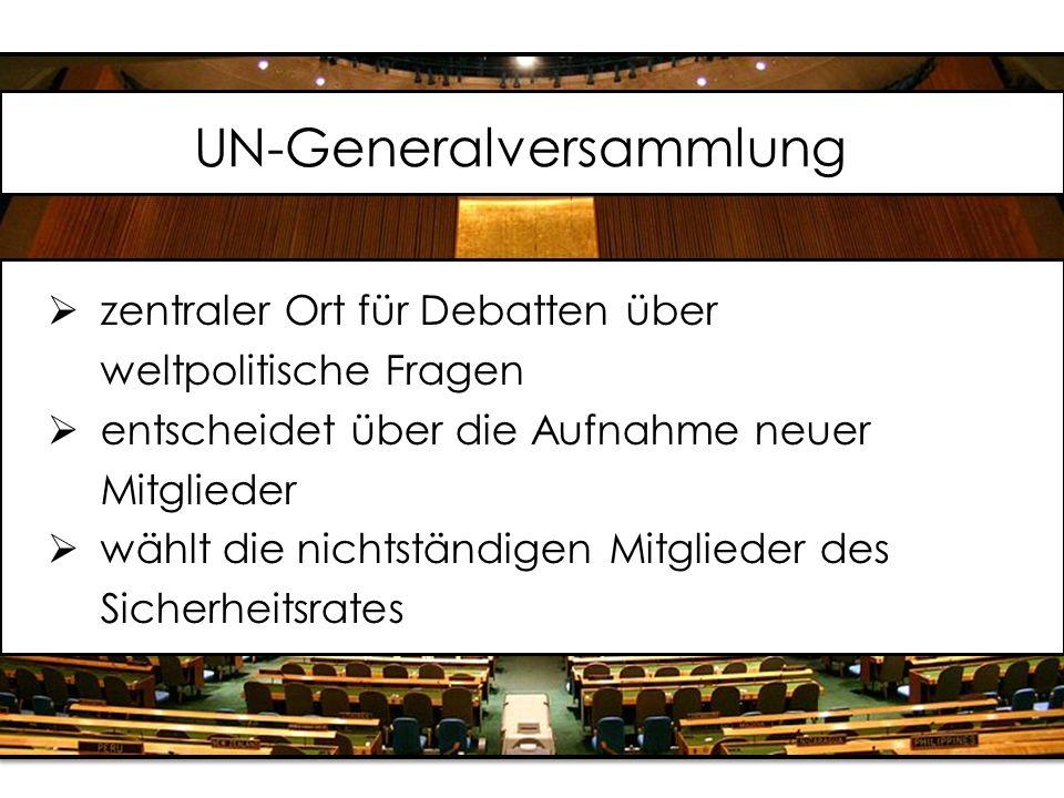 UN-Generalversammlung  zentraler Ort für Debatten über weltpolitische Fragen  entscheidet über die Aufnahme neuer Mitglieder  wählt die nichtständigen Mitglieder des Sicherheitsrates