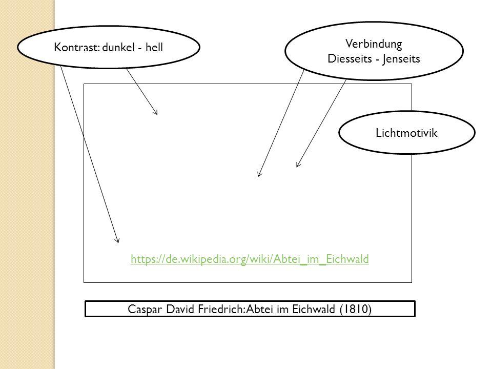 Caspar David Friedrich: Abtei im Eichwald (1810) Kontrast: dunkel - hell Verbindung Diesseits - Jenseits Lichtmotivik https://de.wikipedia.org/wiki/Abtei_im_Eichwald