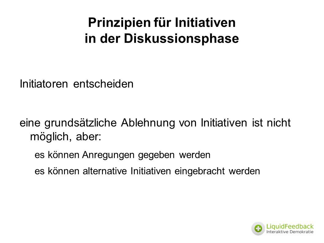 Prinzipien für Initiativen in der Diskussionsphase Initiatoren entscheiden eine grundsätzliche Ablehnung von Initiativen ist nicht möglich, aber: es können Anregungen gegeben werden es können alternative Initiativen eingebracht werden