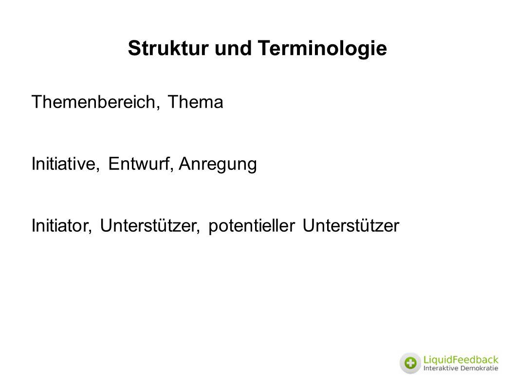 Struktur und Terminologie Themenbereich, Thema Initiative, Entwurf, Anregung Initiator, Unterstützer, potentieller Unterstützer