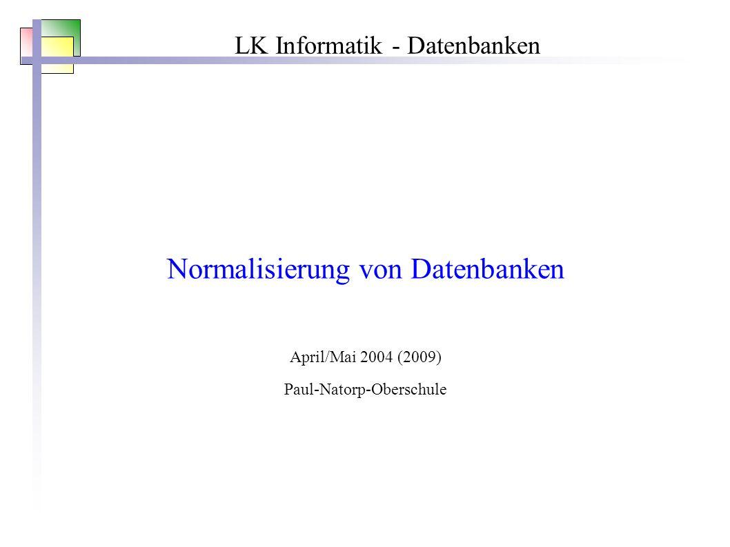 LK Informatik - Datenbanken Normalisierung von Datenbanken April/Mai 2004 (2009) Paul-Natorp-Oberschule