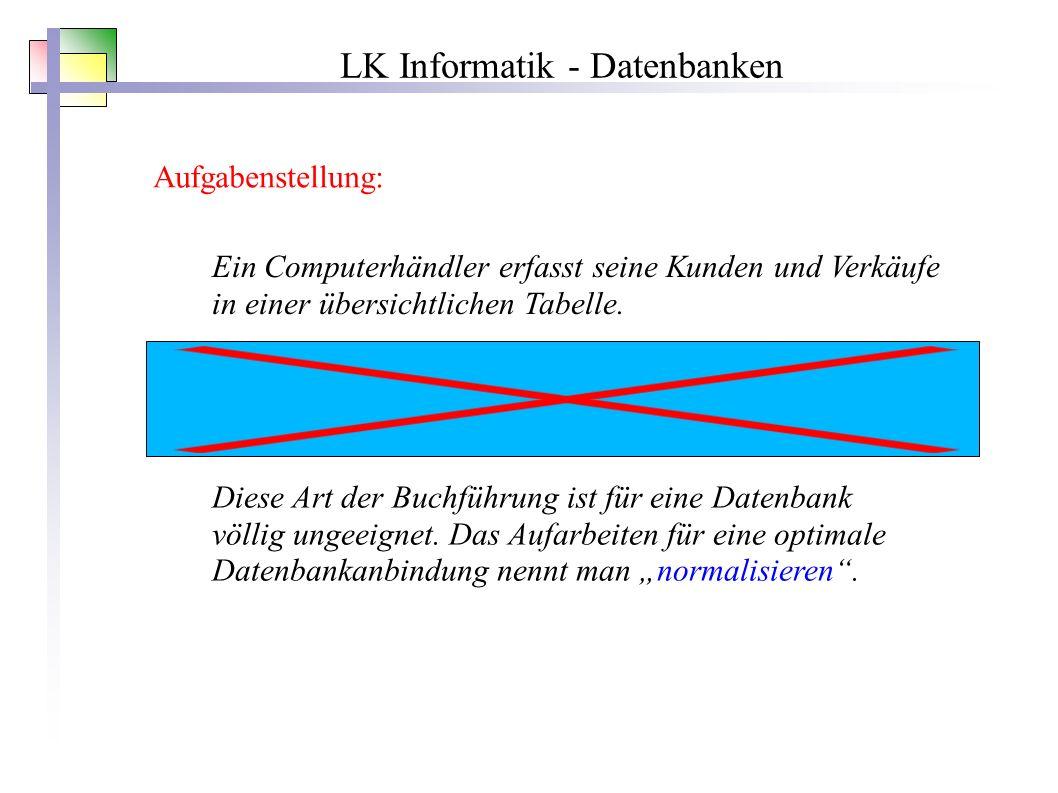 LK Informatik - Datenbanken Aufgabenstellung: Ein Computerhändler erfasst seine Kunden und Verkäufe in einer übersichtlichen Tabelle.