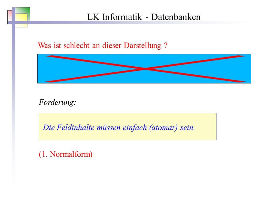 LK Informatik - Datenbanken Was ist schlecht an dieser Darstellung .