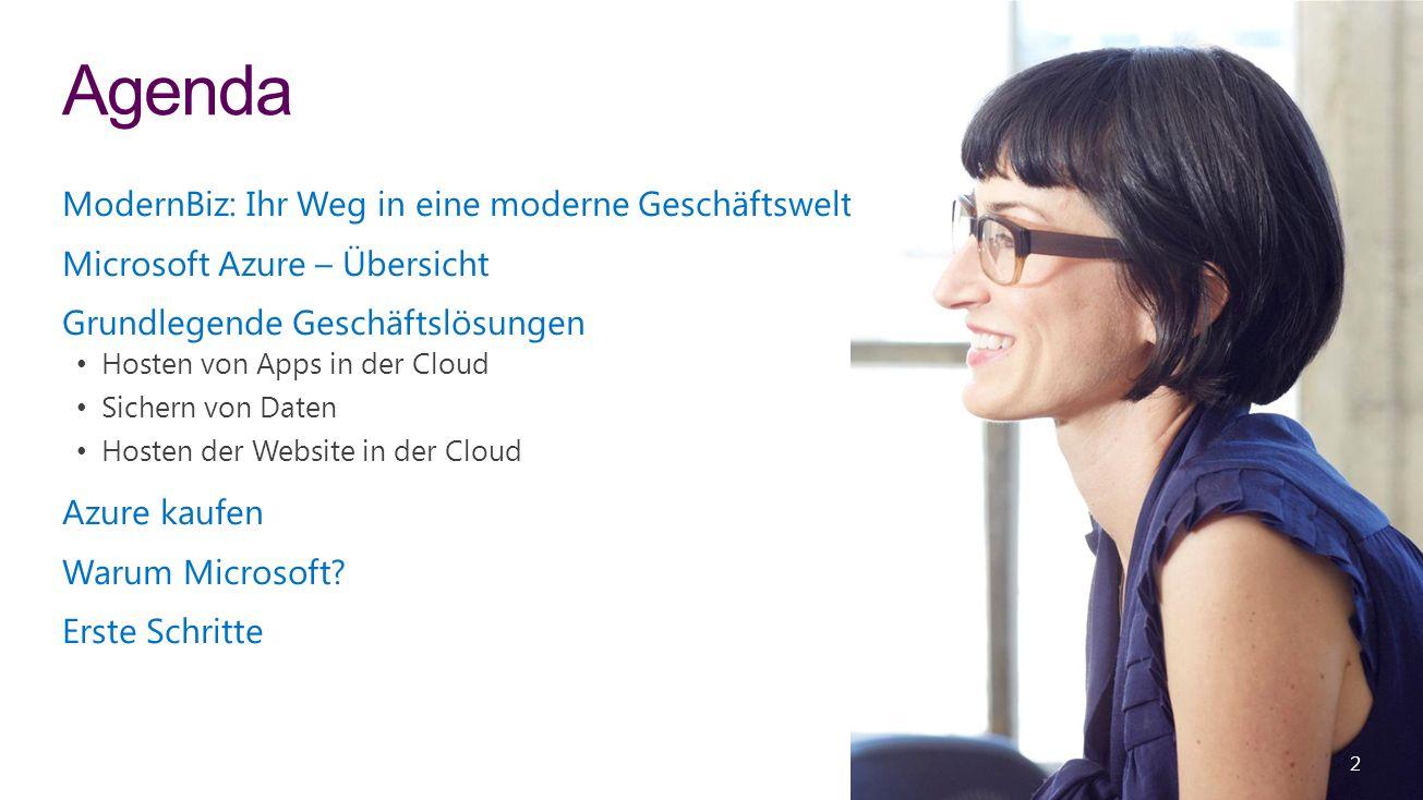 ModernBiz: Ihr Weg in eine moderne Geschäftswelt Microsoft Azure – Übersicht Grundlegende Geschäftslösungen Hosten von Apps in der Cloud Sichern von Daten Hosten der Website in der Cloud Azure kaufen Warum Microsoft.