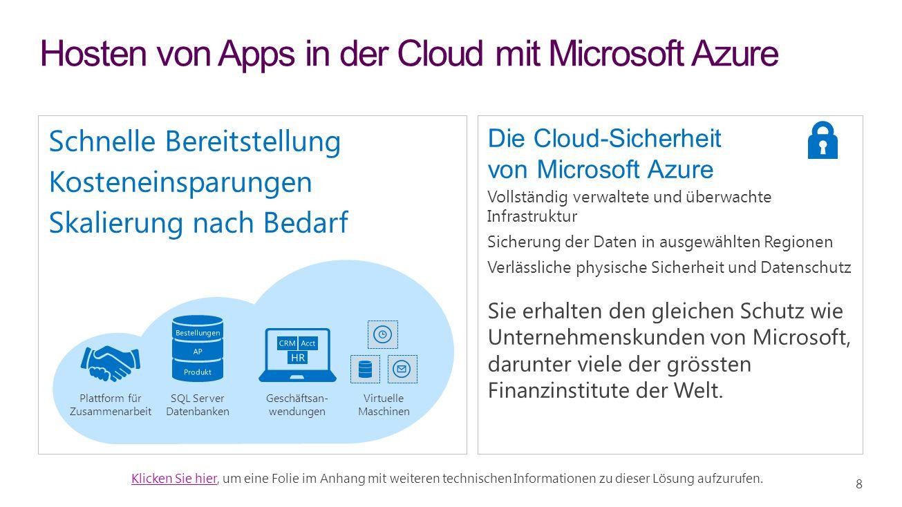 Hosten von Apps in der Cloud mit Microsoft Azure Die Cloud-Sicherheit von Microsoft Azure Vollständig verwaltete und überwachte Infrastruktur Sicherung der Daten in ausgewählten Regionen Verlässliche physische Sicherheit und Datenschutz Sie erhalten den gleichen Schutz wie Unternehmenskunden von Microsoft, darunter viele der grössten Finanzinstitute der Welt.