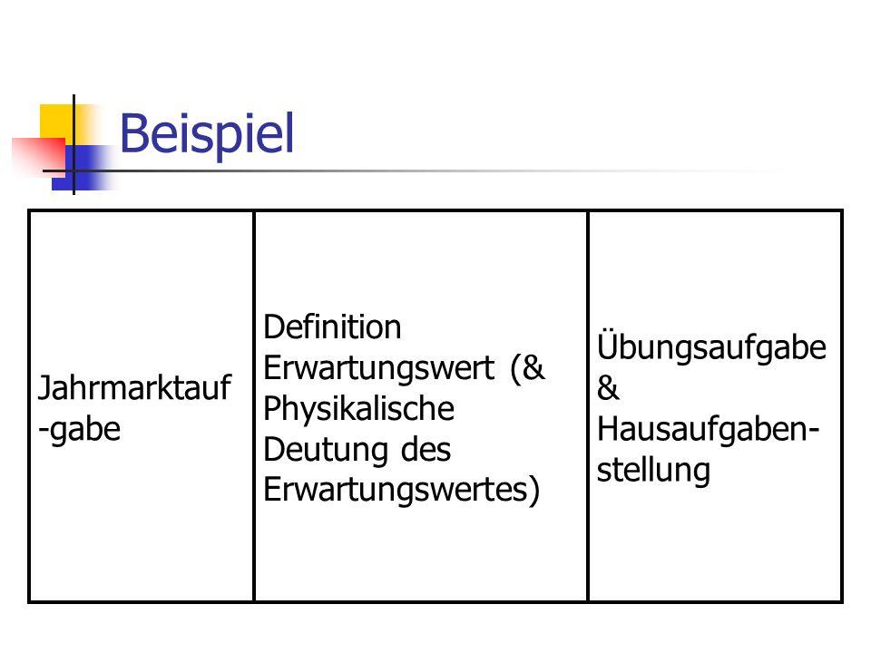 Beispiel Jahrmarktauf -gabe Definition Erwartungswert (& Physikalische Deutung des Erwartungswertes) Übungsaufgabe & Hausaufgaben- stellung