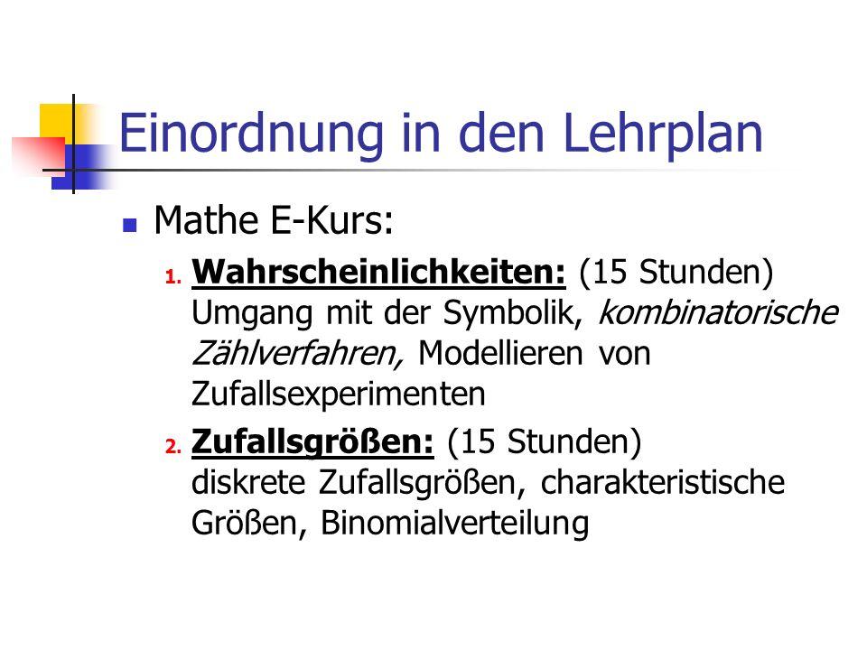 Einordnung in den Lehrplan Mathe E-Kurs: 1.
