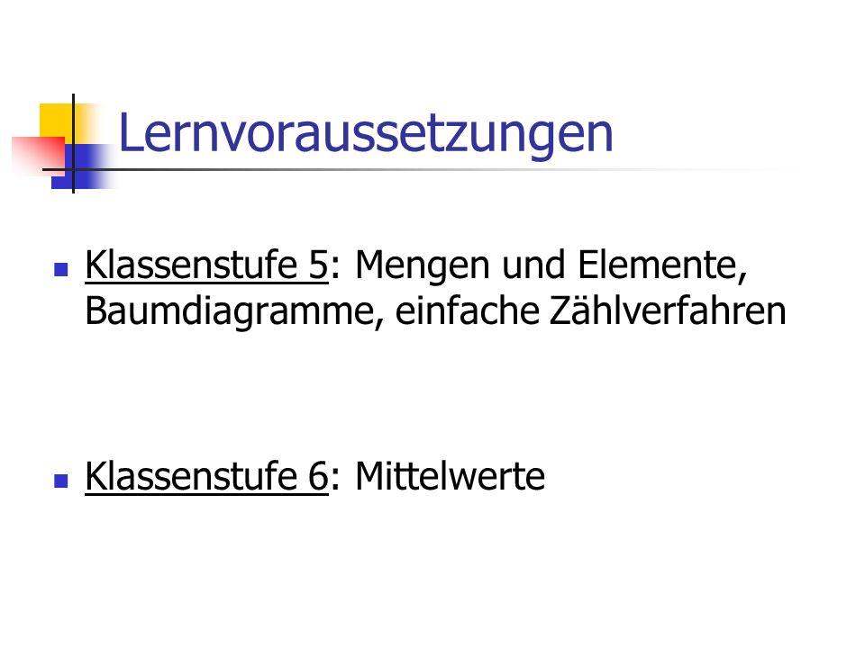 Lernvoraussetzungen Klassenstufe 5: Mengen und Elemente, Baumdiagramme, einfache Zählverfahren Klassenstufe 6: Mittelwerte