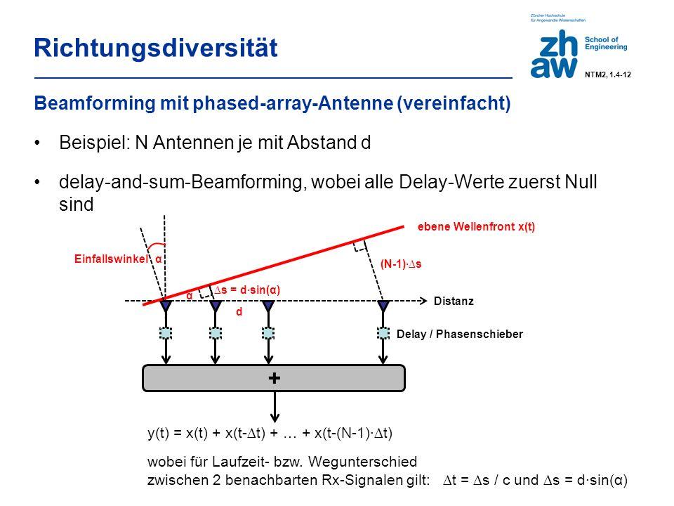 Richtungsdiversität Beamforming mit phased-array-Antenne (vereinfacht) Beispiel: N Antennen je mit Abstand d delay-and-sum-Beamforming, wobei alle Delay-Werte zuerst Null sind y(t) = x(t) + x(t-∆t) + … + x(t-(N-1)·∆t) wobei für Laufzeit- bzw.