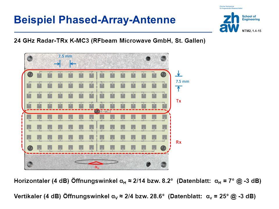 Beispiel Phased-Array-Antenne NTM2, 1.4-15 24 GHz Radar-TRx K-MC3 (RFbeam Microwave GmbH, St.