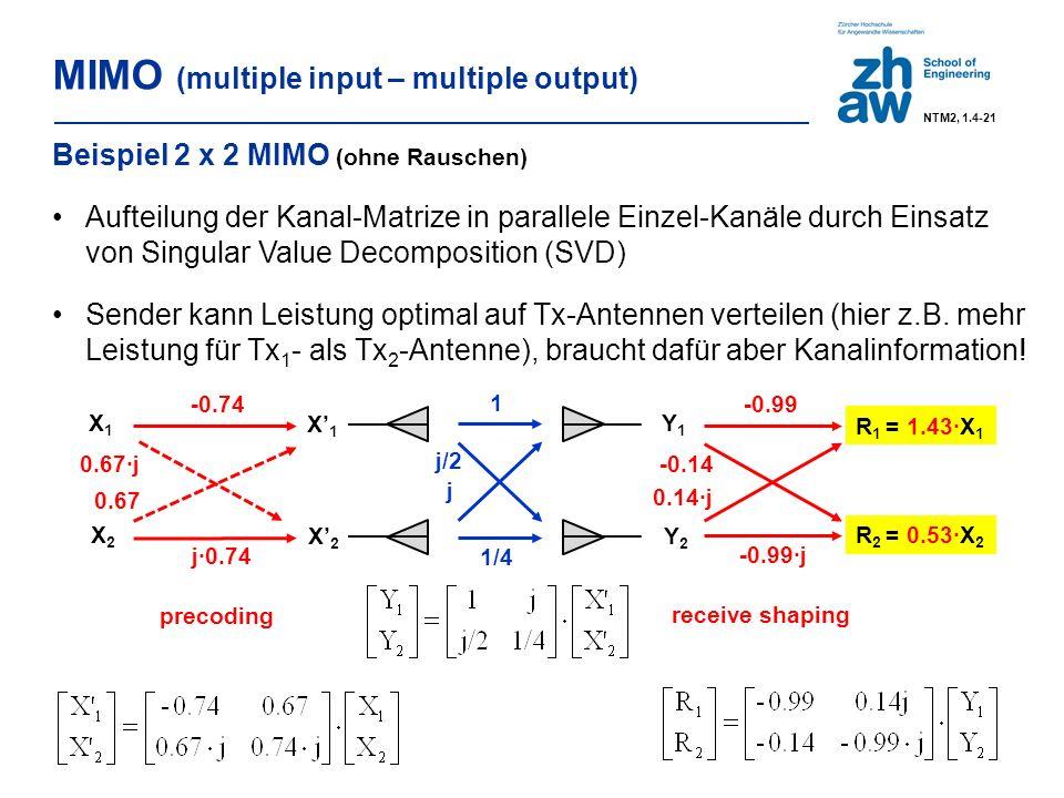 MIMO (multiple input – multiple output) 1 1/4 X' 1 X' 2 Y1Y1 Y2Y2 j j/2 -0.99 -0.14 0.14·j -0.99·j R 2 = 0.53·X 2 R 1 = 1.43∙X 1 Beispiel 2 x 2 MIMO (ohne Rauschen) Aufteilung der Kanal-Matrize in parallele Einzel-Kanäle durch Einsatz von Singular Value Decomposition (SVD) Sender kann Leistung optimal auf Tx-Antennen verteilen (hier z.B.
