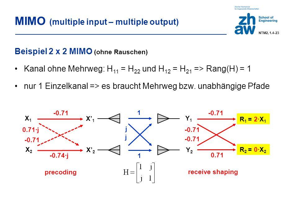 1 1 X' 1 X' 2 Y1Y1 Y2Y2 j j -0.71 0.71 R 2 = 0·X 2 R 1 = 2∙X 1 Beispiel 2 x 2 MIMO (ohne Rauschen) Kanal ohne Mehrweg: H 11 = H 22 und H 12 = H 21 => Rang(H) = 1 nur 1 Einzelkanal => es braucht Mehrweg bzw.