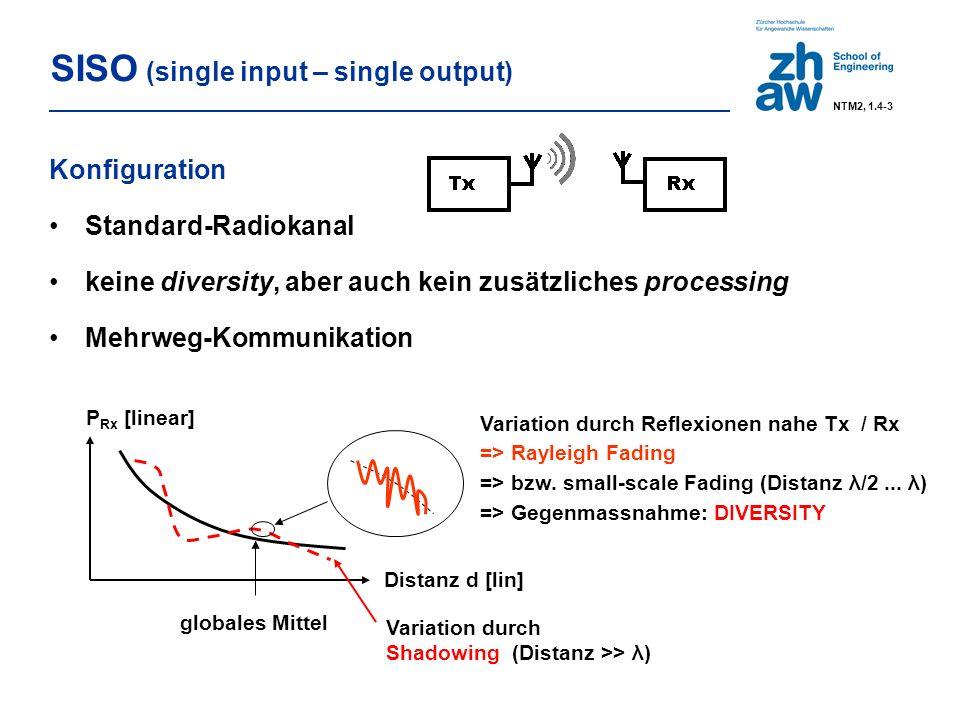 Konfiguration Standard-Radiokanal keine diversity, aber auch kein zusätzliches processing Mehrweg-Kommunikation SISO (single input – single output) P Rx [linear] Distanz d [lin] globales Mittel Variation durch Shadowing (Distanz >> λ) Variation durch Reflexionen nahe Tx / Rx => Rayleigh Fading => bzw.