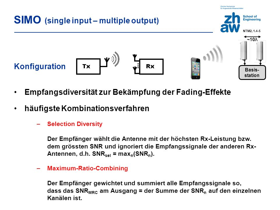Konfiguration Empfangsdiversität zur Bekämpfung der Fading-Effekte häufigste Kombinationsverfahren –Selection Diversity Der Empfänger wählt die Antenne mit der höchsten Rx-Leistung bzw.